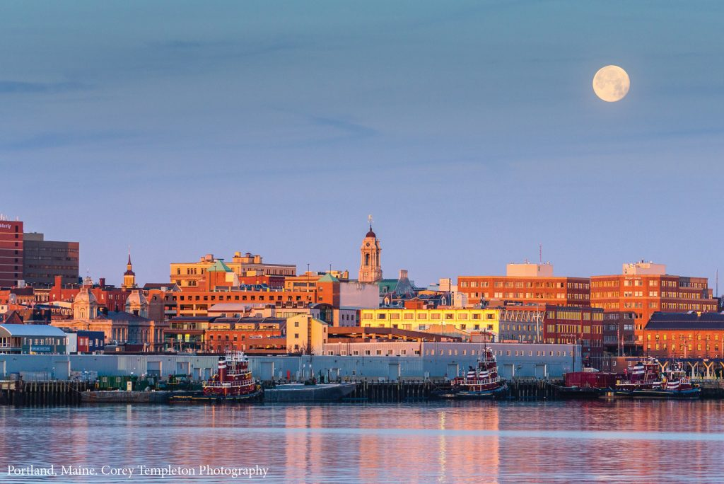Moon over Portland Maine Waterfront