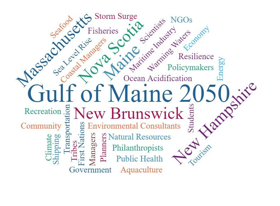Word Cloud showing Gulf of Maine 2050 seeks diversity of attendees from Nova Scotia, Massachusetts, New Brunswick, New Hampshire and Maine